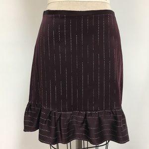 Silk skirt with polka dot print and ruffle hem